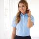 Camicia da divisa donna elegante, maniche corte, modello classic fit, colore azzurro, tessuto poliestere cotone, easy iron