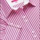 Dettaglio camicia da divisa donna elegante, maniche corte, chiusura doppio bottone, colore rosa e bianco, tessuto cotone poliestere, easy iron