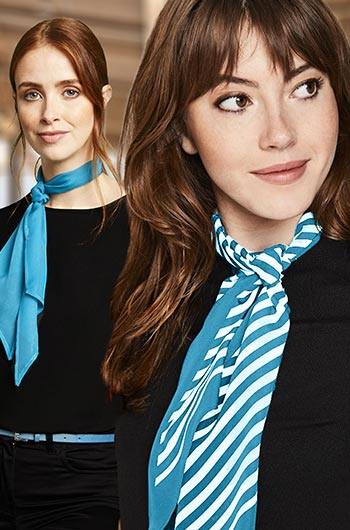 Uniform for event hostesses with light-blue scarves